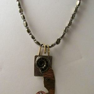 Necklace - Pyritized Russian AMMONITE on Sterling Silver with Brass Wire and Patterned Brass with faceted White TOPAZ Pendant with Pyrite Beads (JS-11)