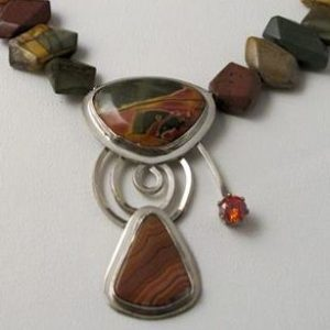 Necklace - LAGUNA AGATE with Faceted AMETHYST on Sterling Silver Pendant with AMETHYST Beads (JS-9)