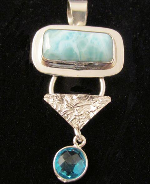 Pendant - LARIMAR on Sterling Silver and Reticulated Silver with Faceted BLUE TOPAZ (JS-28)