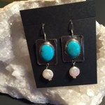 Turquoise and Pearl Coin Earrings (JS-56)