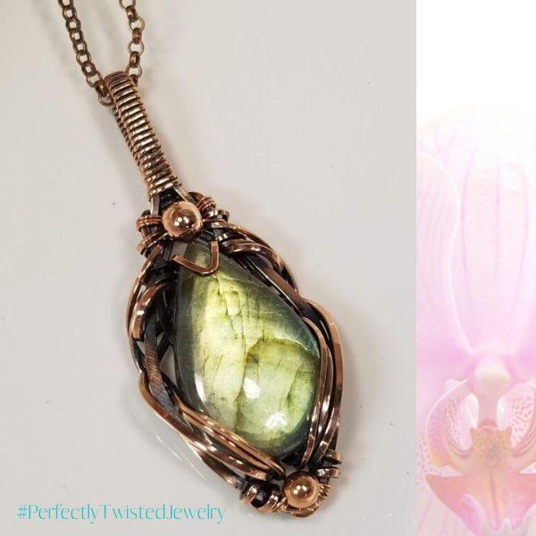 Golden Labradorite Cabochon in Copper Wire Wrapped Pendant Necklace