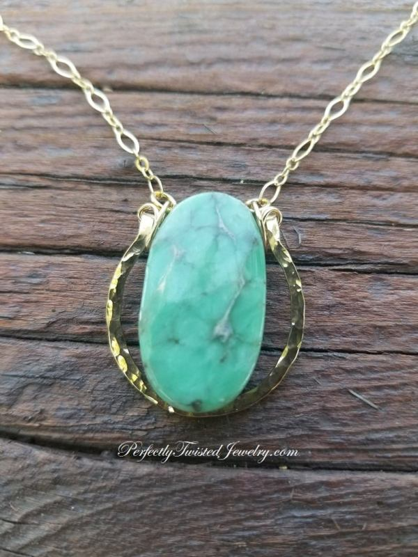 Variscite, Utah, Gold Filled, Wire Wrapped Pendant Necklace, Handmade, Perfectly Twisted Jewelry, Green, Oval, Gold, Focal gold pendant