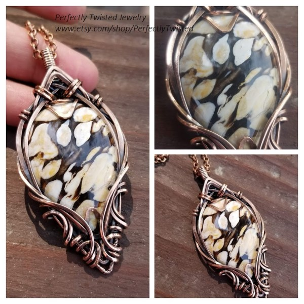 Australian Peanut Wood Cabochon in Copper Wire Wrapped Pendant Necklace Handmade Jewelry by Perfectly Twisted Jewelry