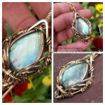 Labradorite Brass Wire Wrapped Pendant Necklace Handmade Jewelry by Perfectly Twisted Jewelry