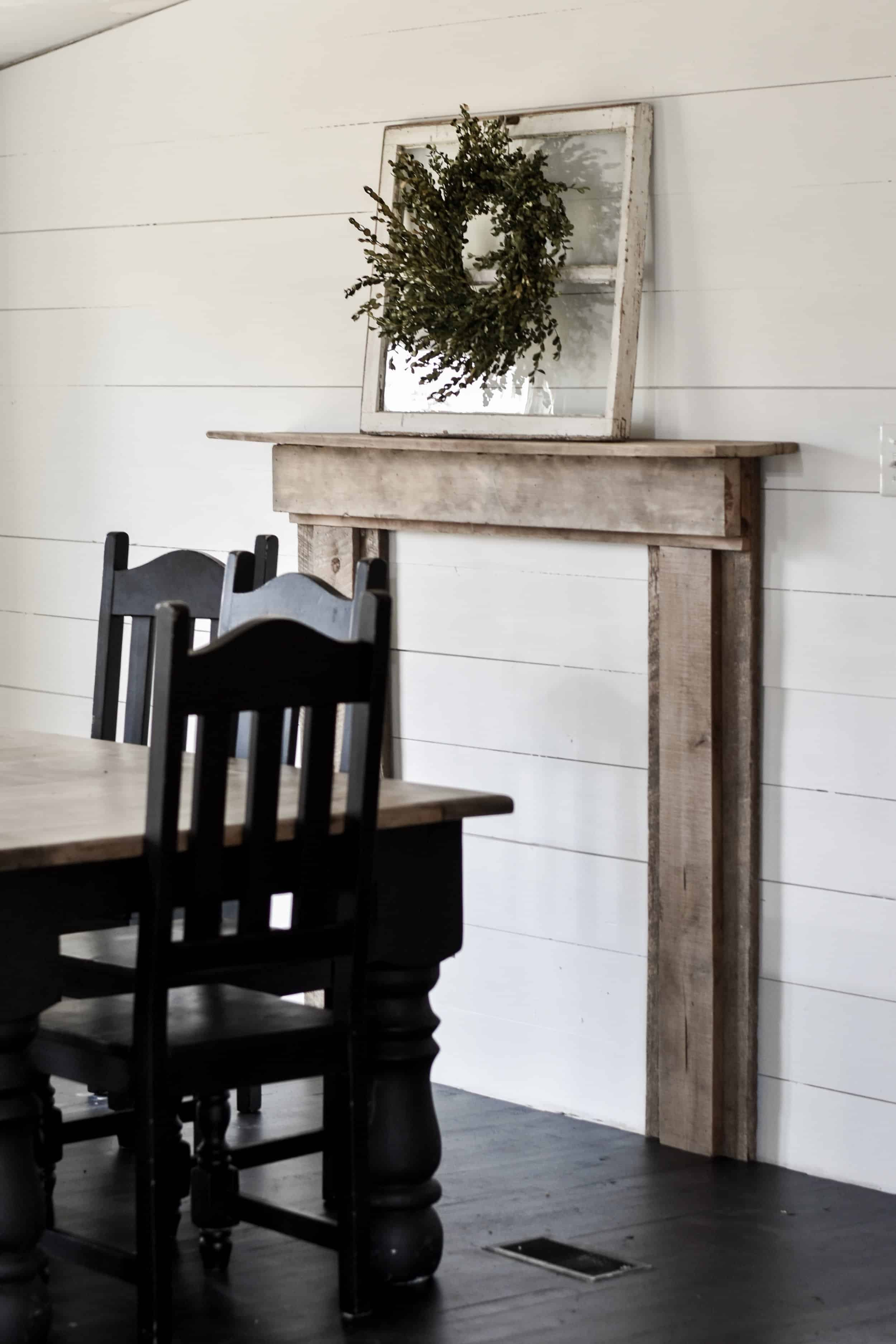 rustic faux fireplace