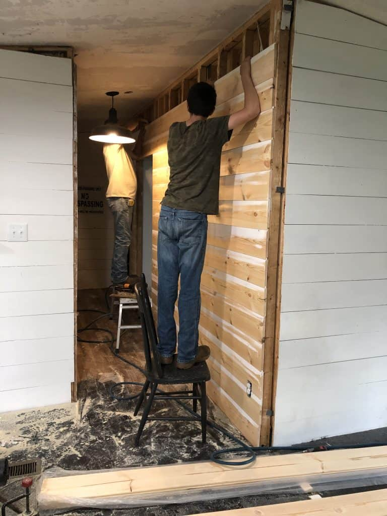 Mobile Home Remodeling Farmhouse Style with Shiplap boards