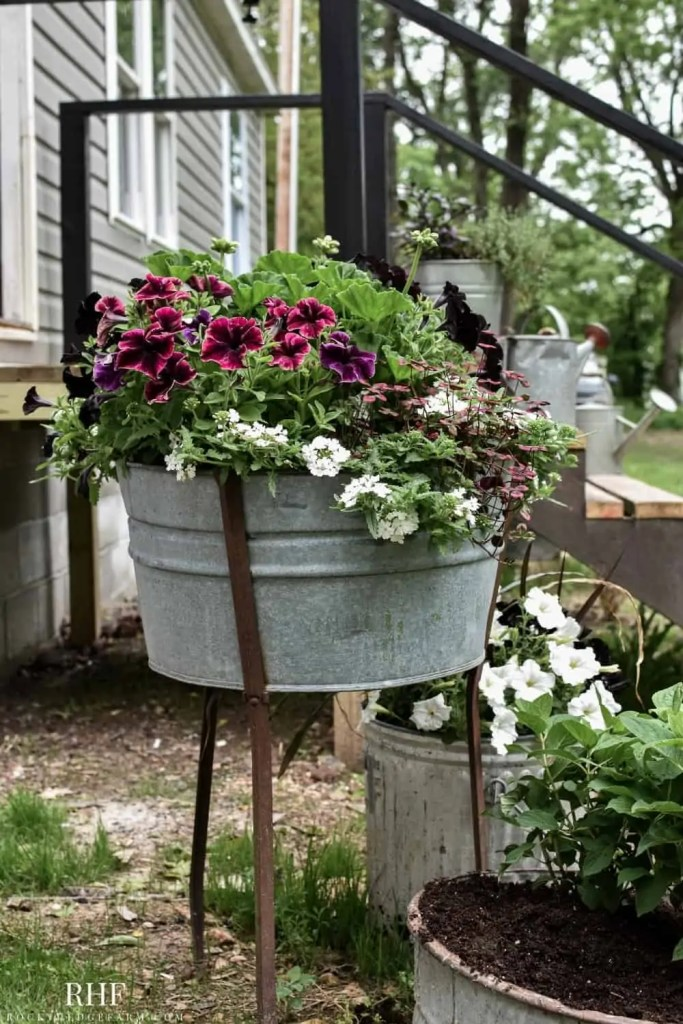 Galvanized Wash Tub Planters