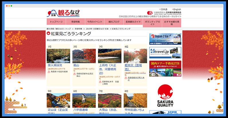 日本觀光情報公佈的 10 個 最佳賞楓地點 (總名單共 40 位) 1