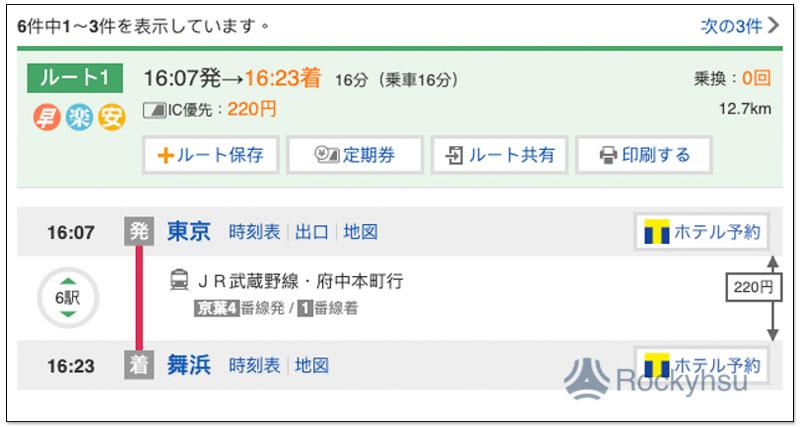 東京到舞濱的地鐵