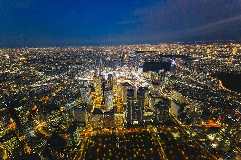 東京晚上高空夜景