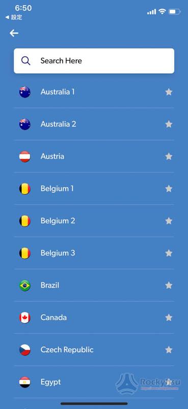 FastestVPN iOS 版伺服器選單