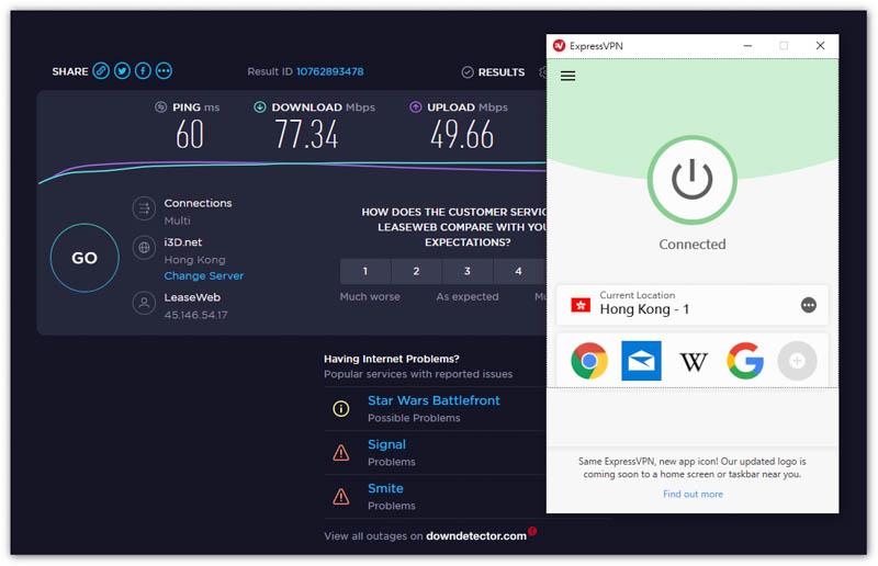 ExpressVPN 香港伺服器速度