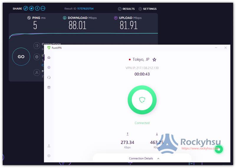 PureVPN 日本伺服器速度實測