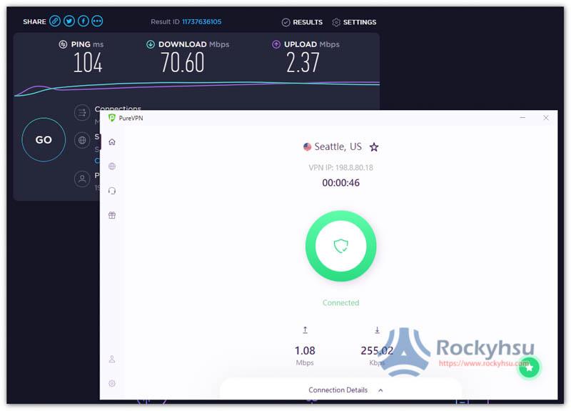 PureVPN 美國伺服器速度