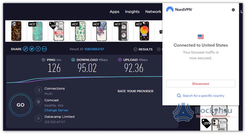 NordVPN Chrome 美國伺服器速度實測
