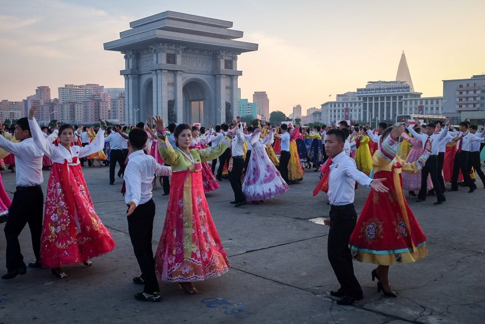 Mass dance during Victory Day celebrations during a tour of North Korea