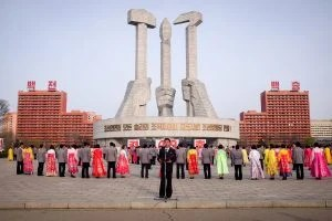 Mass dance during birthday celebrations on a tour of Pyongyang North Korea