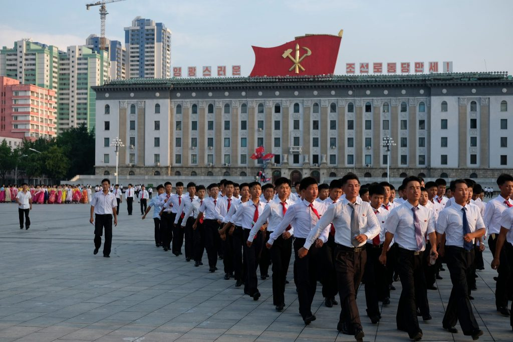 Student March in North Korea.