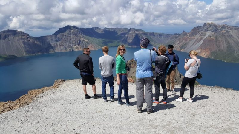Tour group on Mount Paektu, North Korea