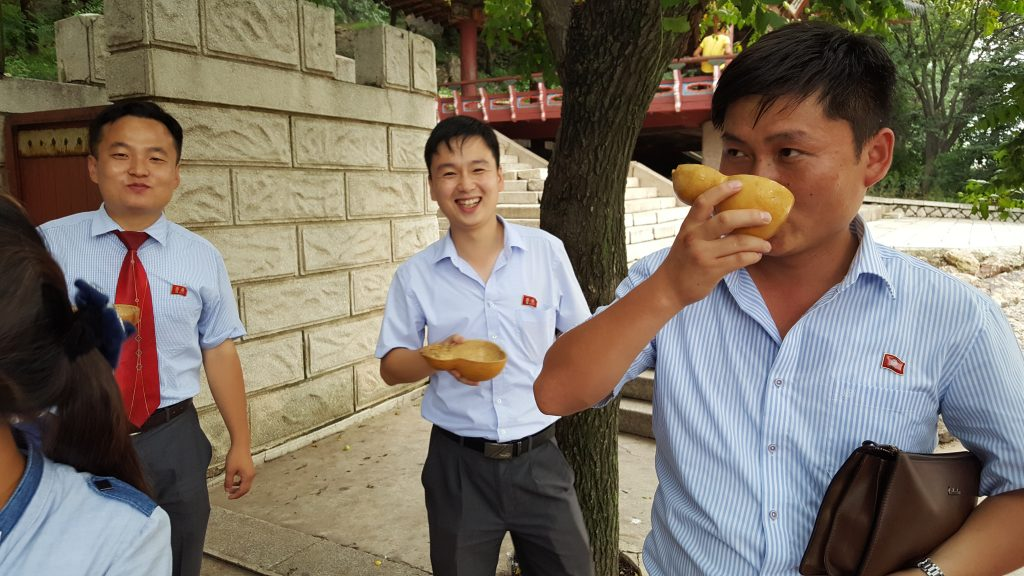 Drinking makgeolli in North Korea