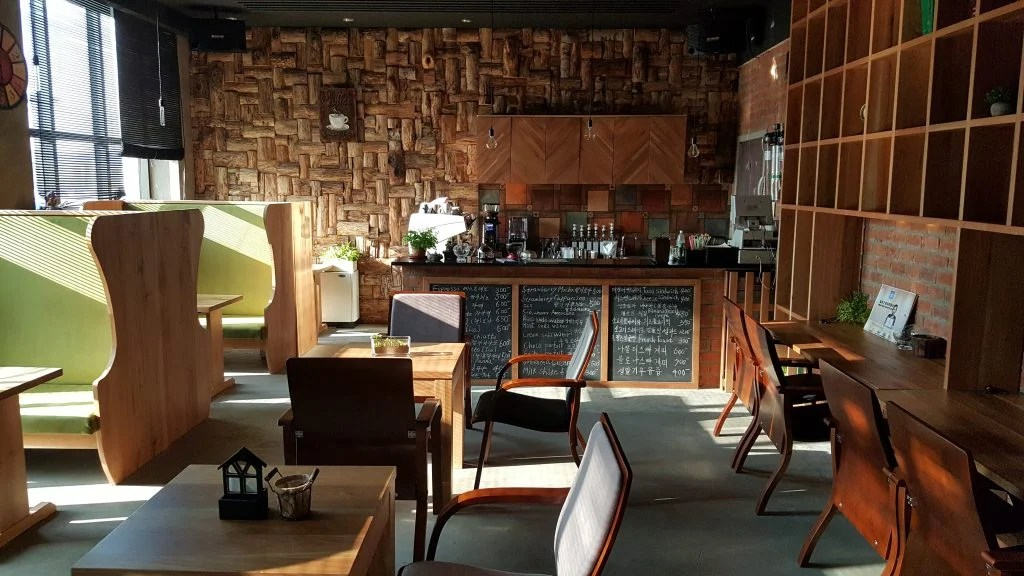 Interior design of the Kumrung cafe. Part of the coffee culture in North Korea