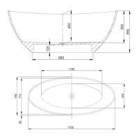 Hoesch Badewanne Namur 1700x750 freistehend, Material ...