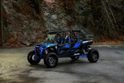 blue 4 seater Polaris UTV