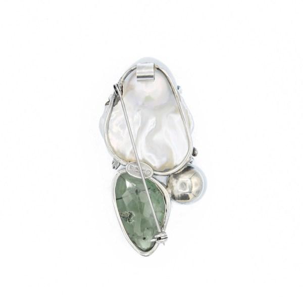 Spilla-Ciondolo-fatta-a-mano-in-argento-prenite -Perla-iris