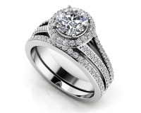 Dazzling Four Row Diamond Engagement Set