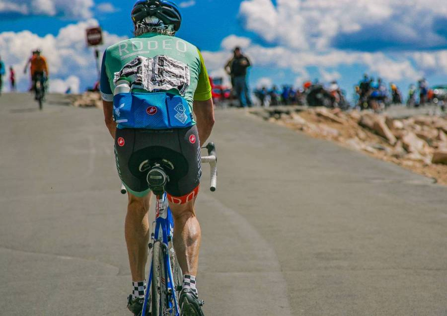 Andrew Bermingham closes in on the summit. Photo by Reid Neureiter.