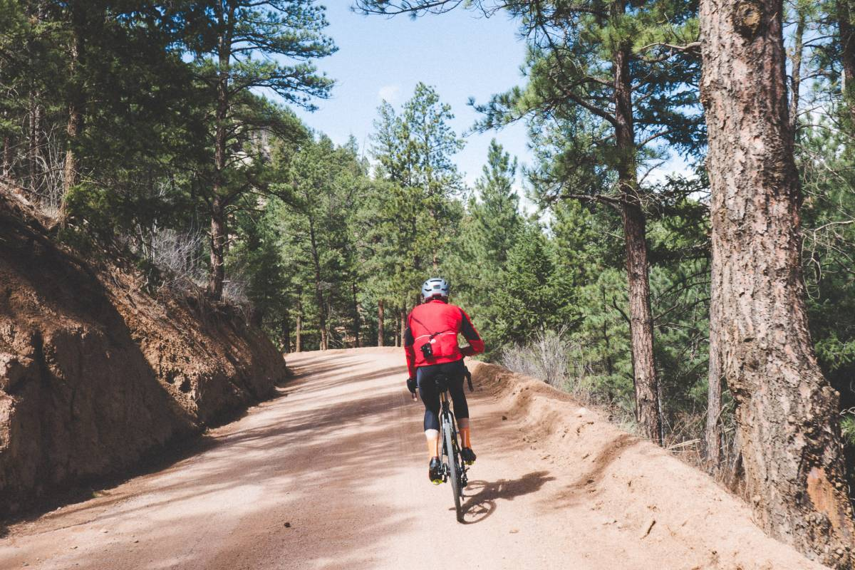 A right turn at the bottom of the descent near Deckers is where the great riding starts. The gravel doubletrack road leads into the canyon and teases what is to come.