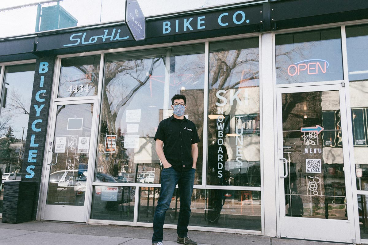 Adam Williams out front at SloHi's Highland location. Next door to the bike shop SloHi has its sister coffee shop. Thankfully there hasn't been a COVID coffee bean shortage this year!