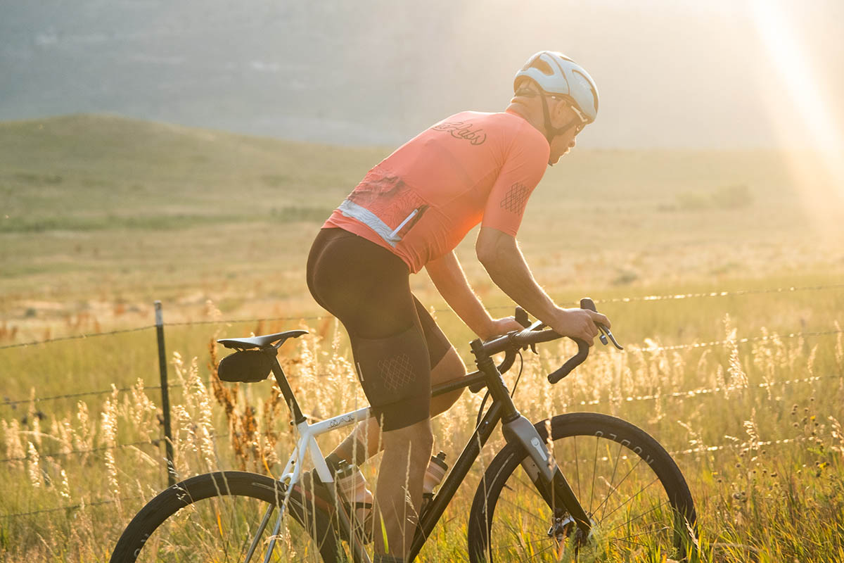 Dark Bronzite is a lighter weight dyed Lycra fabric than we used on the Black Tuxedo bibs. Perfect for warmer temps and long days on the bike.