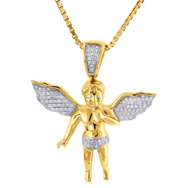 Diamond Angel Pendant with Chain