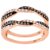 10K Rose Gold Brown Diamond Solitaire Engagement Wrap ...
