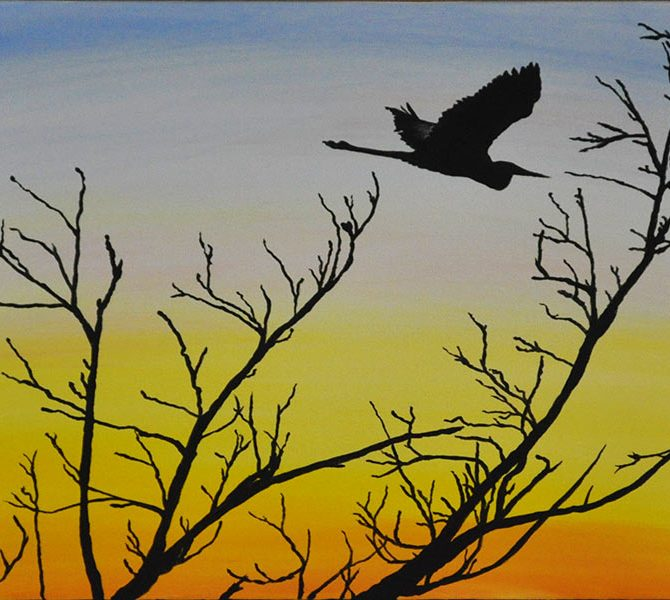 Crane sunset Sarasota swamp Oil Painting Silhouette