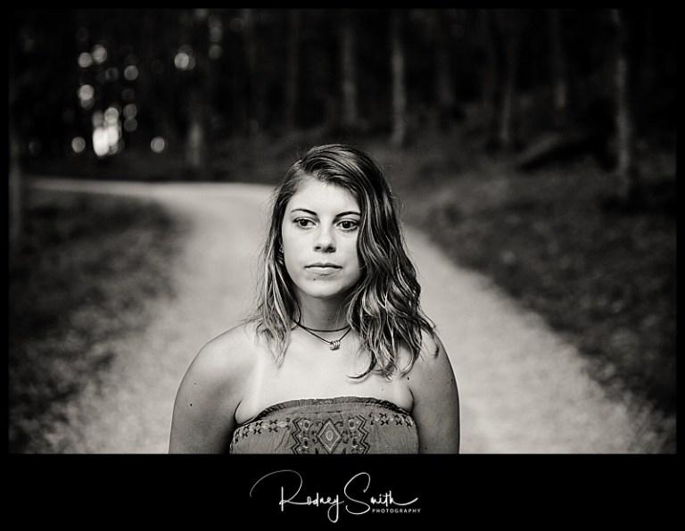senior portrait, black and white, road