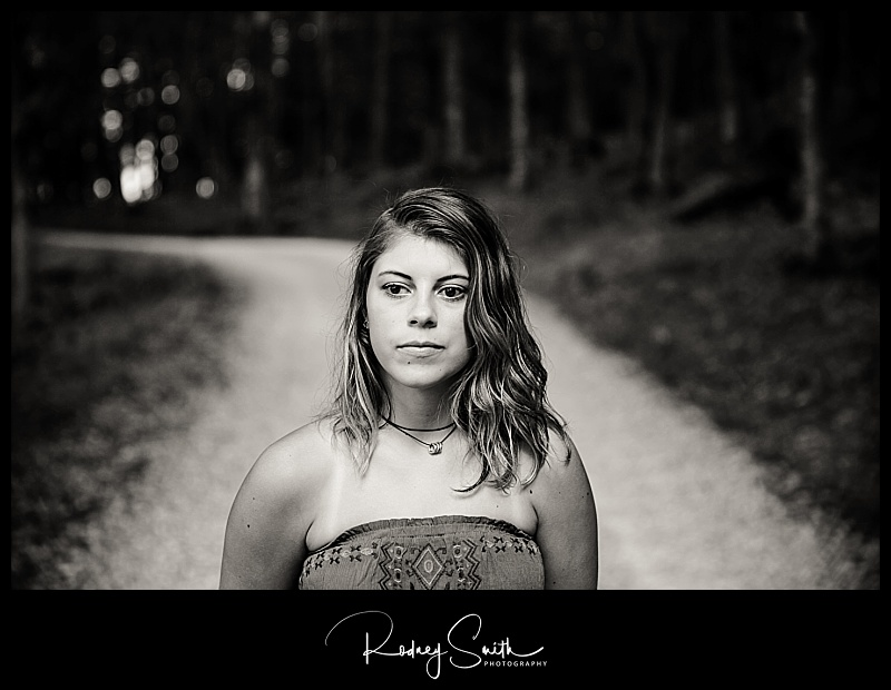 senior portrait, black and white, road