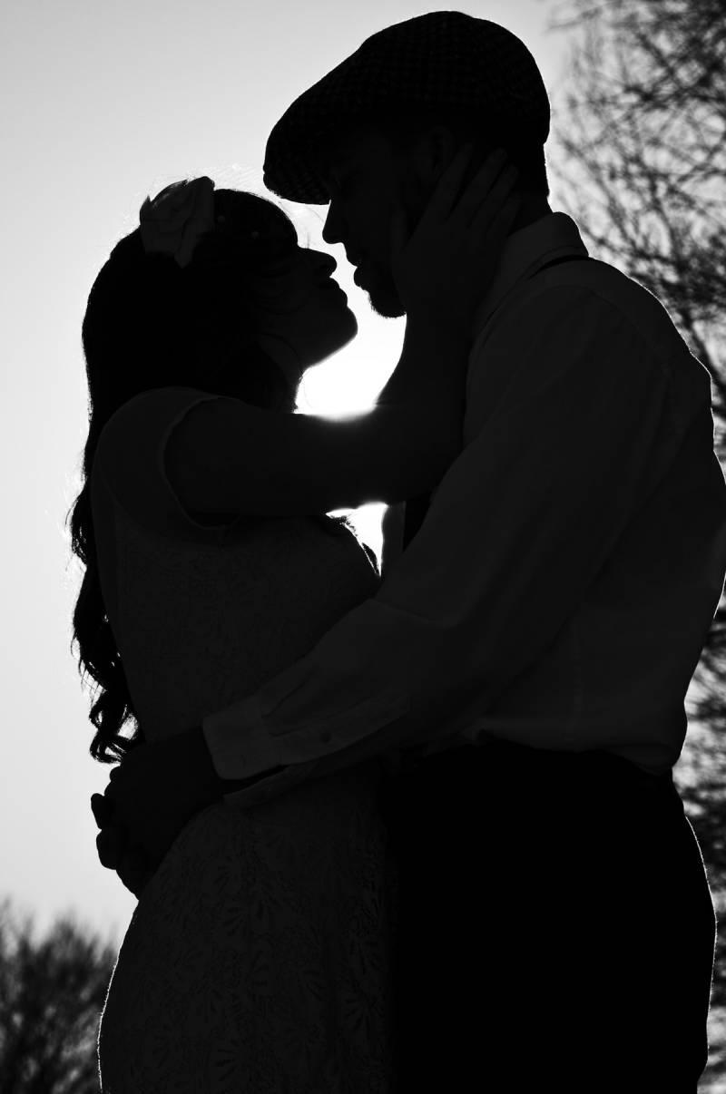 bride, groom, silhouette