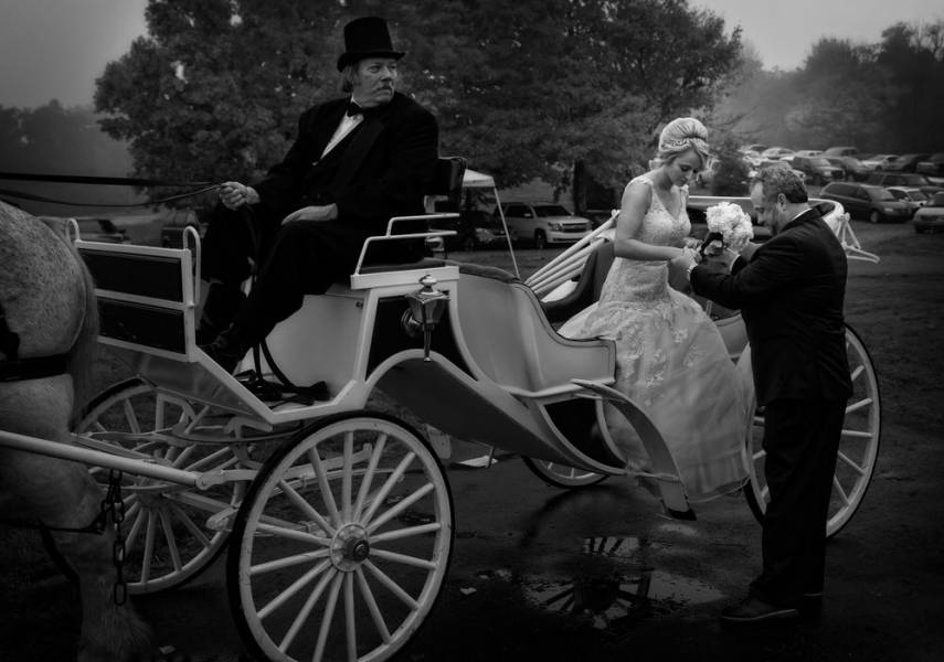 black and white wedding carriage