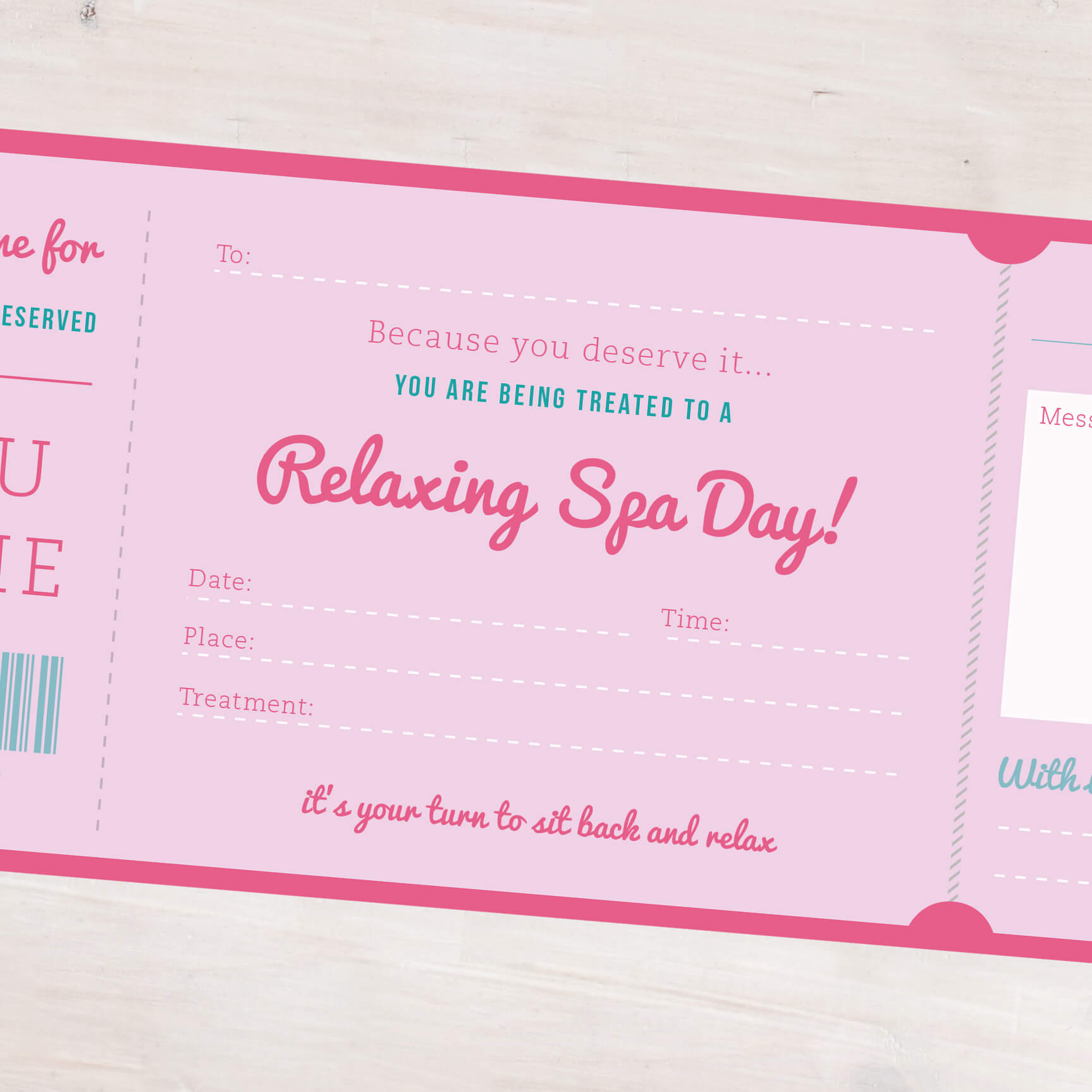 Spa Day Treatment Ticket Gift Designed By Rodo Creative In