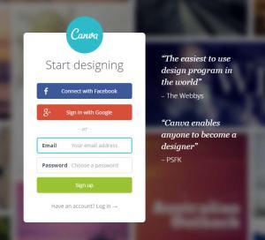 Acesse Canva.com e crie uma conta gratuitamente. Você pode também vincular a uma conta do Facebook ou do Google+.