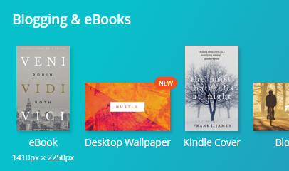 Escolha eBook ou Kindle Cover. Ambas as opções têm as mesmas dimensões.