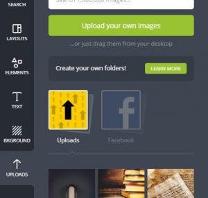 """Há algumas imagens já fornecidas pelo Canva.com e que custam cerca de um dólar por download. Porém, podemos também optar por enviarmos nossas próprias imagens. Clique no botão """"Upload your own images"""" (Faça upload das suas imagens)."""