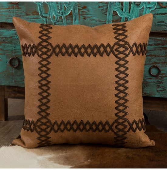hiend faux leather pillow with lacing