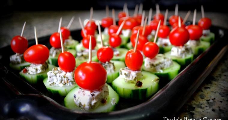 Cucumber, feta, tomato appitzer