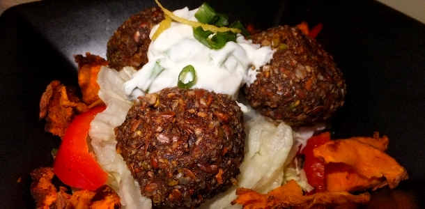 Savoury balls with Lemon and Chive Dressing