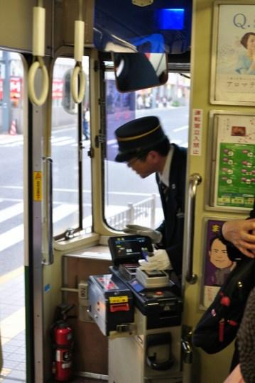 Hiroszima motorniczy w tramwaju