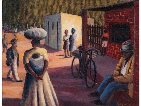 Outside the shop - Gerard Sekoto
