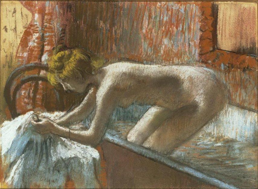 Vrou wat uit die bad klim. Edgar Degas